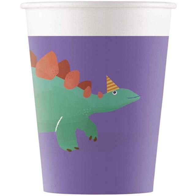 """Kubeczki papierowe """"Dinozaur Party"""", PROCOS, 200 ml, 8 szt"""