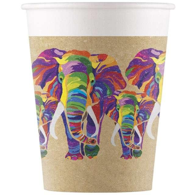 """Kubeczki papierowe """"Słoń - Party Elephant"""", PROCOS, 200 ml, 8 szt"""