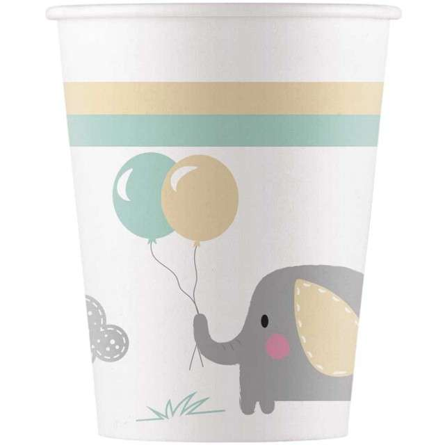 """Kubeczki papierowe """"Elephant Baby"""", PROCOS, 200 ml, 8 szt"""