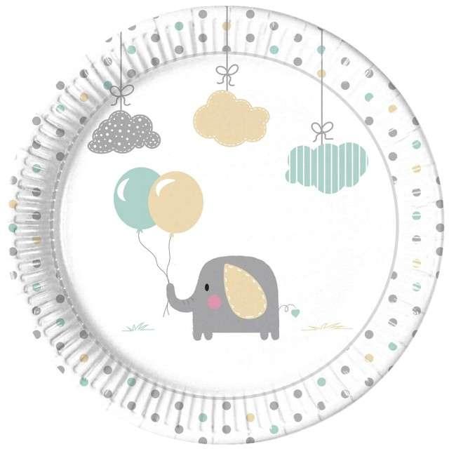 """Talerzyki papierowe """"Elephant Baby"""", PROCOS, 23 cm, 8 szt"""