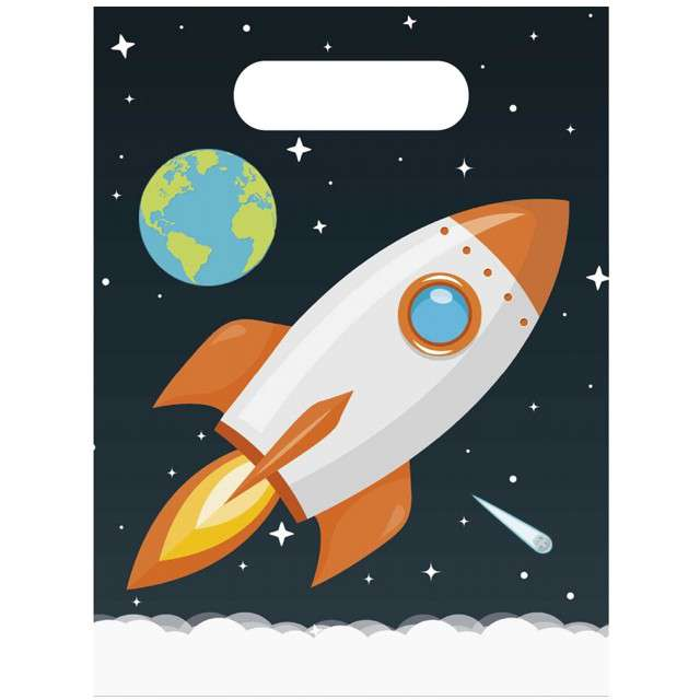 """Torebki foliowe """"Rakieta - Outer Space"""", PROCOS, 23x17 cm, 6 szt"""