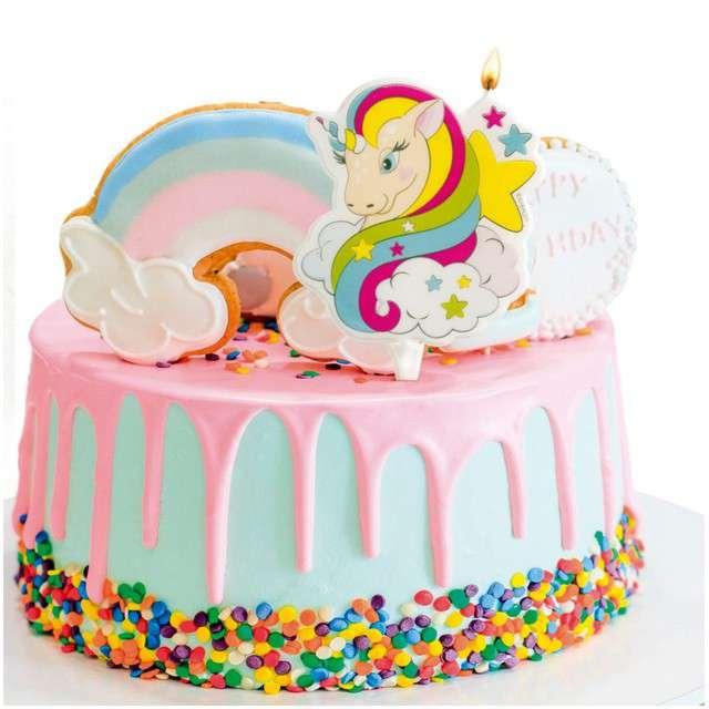 Świeczka na tort Jednorożec DEKORA 7 cm