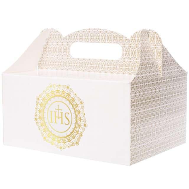 """Pudełko na ciasto """"Komunia IHS"""", białe, 10 szt"""