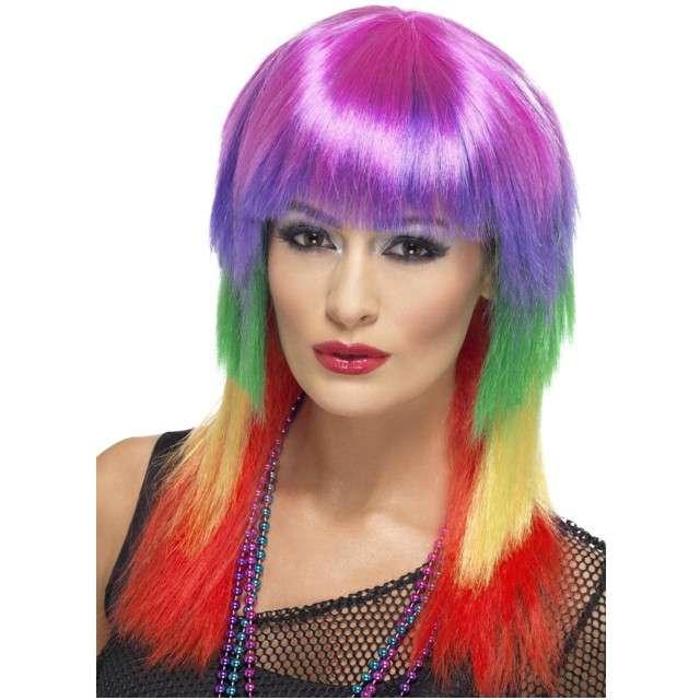 """Peruka party """"Tęczowy Punk"""", kolorowa, SMIFFYS"""