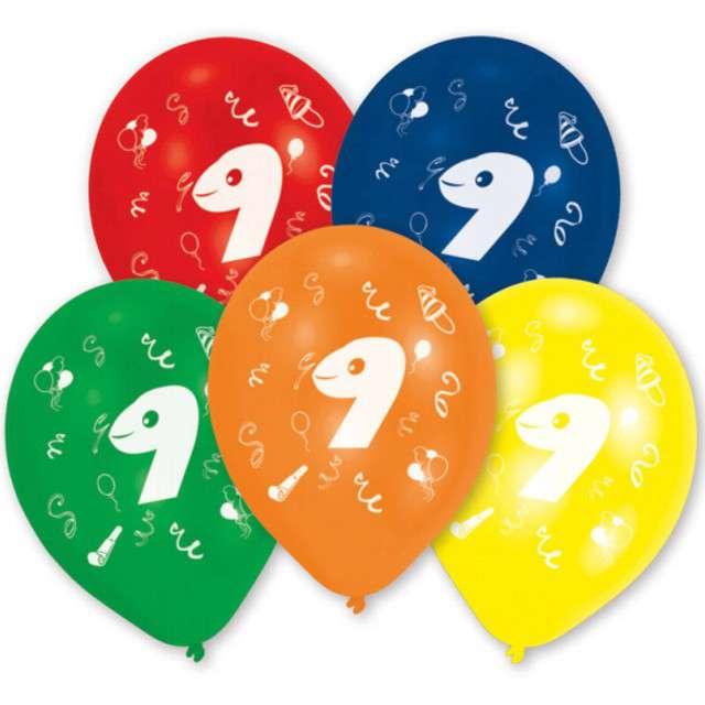 """Balony """"9 Urodziny"""", mix, AMSCAN, 10"""" 10 szt"""