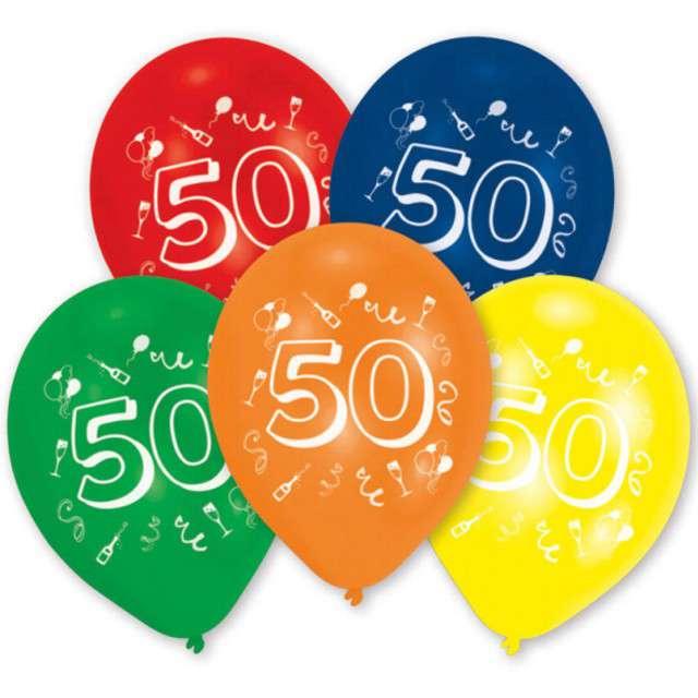 """Balony """"50 Urodziny"""", mix, AMSCAN, 10"""" 10 szt"""