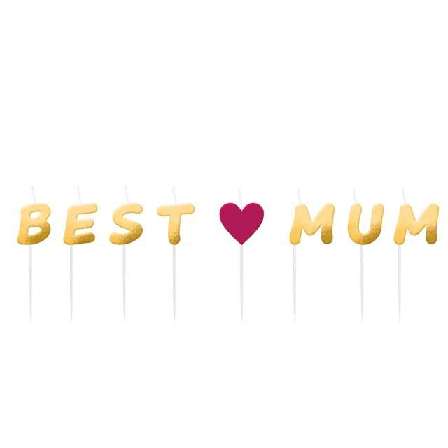 "Świeczki na tort ""Best Mum"", AMSCAN, 8 szt"