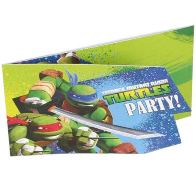 """Zaproszenia urodzinowe """"Żółwie Ninja"""", AMSCAN, 6 szt"""