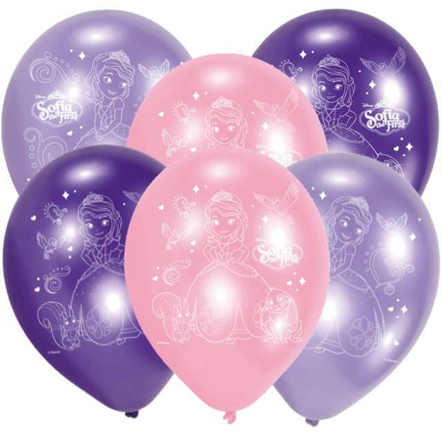 "Balony ""Sofia The First"", mix, AMSCAN, 9"", 6 szt"