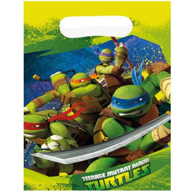 """Torebki foliowe """"Żółwie ninja"""", AMSCAN, 6 szt"""