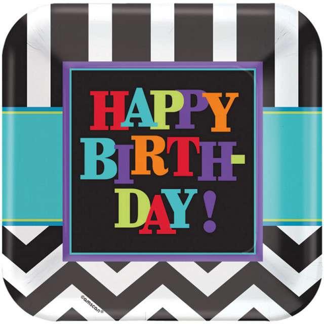 """Talerzyki papierowe """"Chevron Birthday"""", AMSCAN, 23 cm, 8 szt"""
