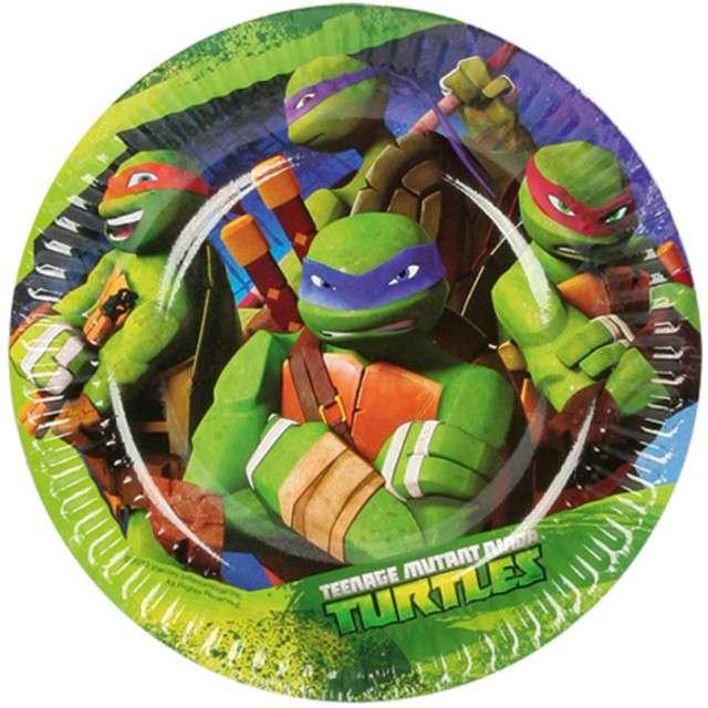 """Talerzyki papierowe """"Żółwie Ninja"""", AMSCAN, 18 cm, 8 szt"""