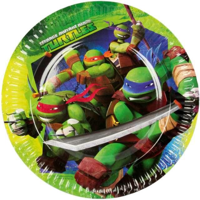 """Talerzyki papierowe """"Żółwie Ninja"""", AMSCAN, 23 cm, 8 szt"""