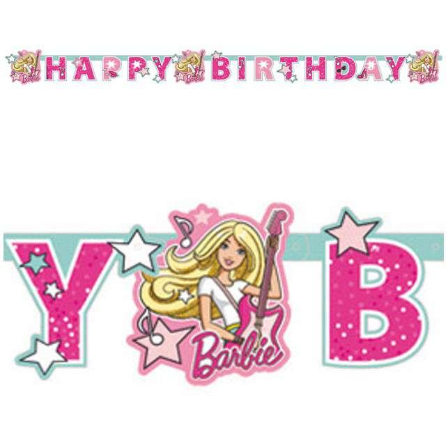 "Baner ""Barbie Popstar"", AMSCAN, różowy, 180 cm"