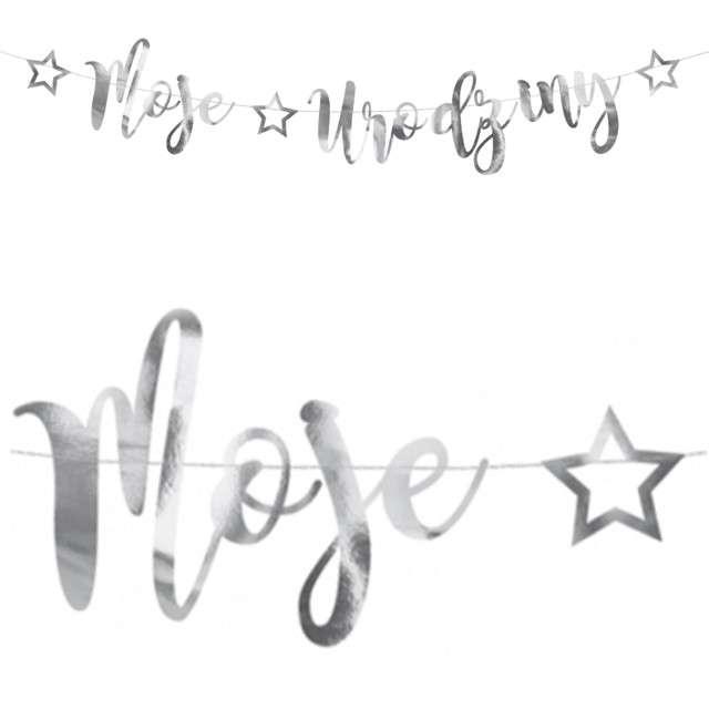 "Baner ""Moje Urodziny"", PartyDeco, srebrny, 90 cm"