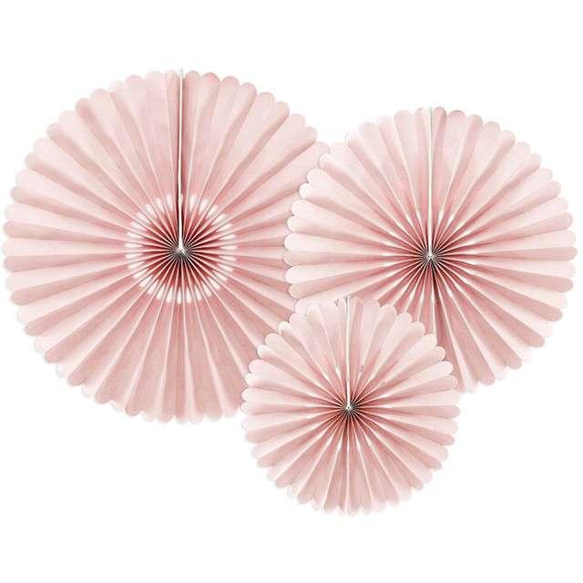 """Rozeta wisząca """"Classic Pink"""", różowe, PartyDeco, 3 szt"""
