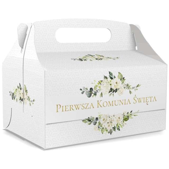 """Pudełko na ciasto """"Pierwsza Komunia Święta - Deluxe"""", białe, TOLEDO, 5 szt"""