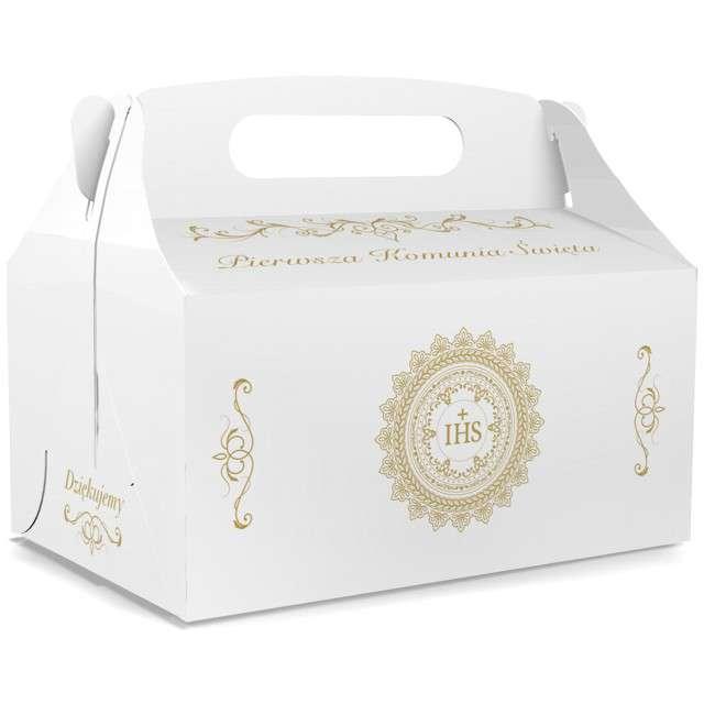 """Pudełko na ciasto """"Pierwsza Komunia Święta IHS - Deluxe"""", białe, TOLEDO, 5 szt"""