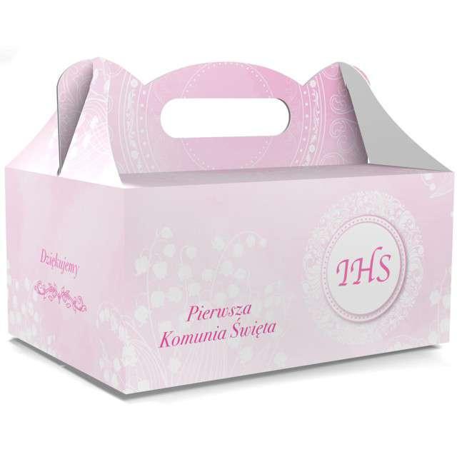 """Pudełko na ciasto """"Pierwsza Komunia Święta IHS"""", różowe, TOLEDO, 5 szt"""
