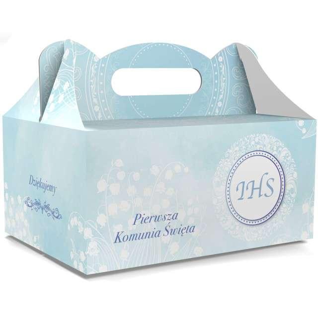 """Pudełko na ciasto """"Pierwsza Komunia Święta IHS"""", błękitne, TOLEDO, 5 szt"""