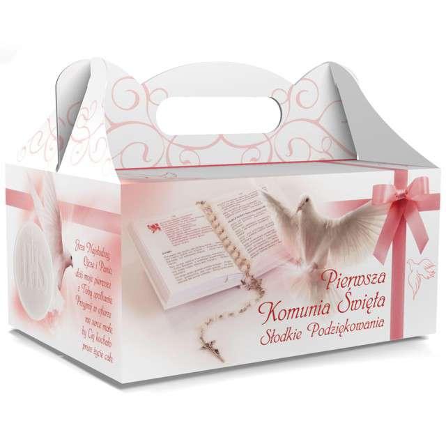 """Pudełko na ciasto """"Pierwsza Komunia Święta"""", różowe, TOLEDO, 5 szt"""