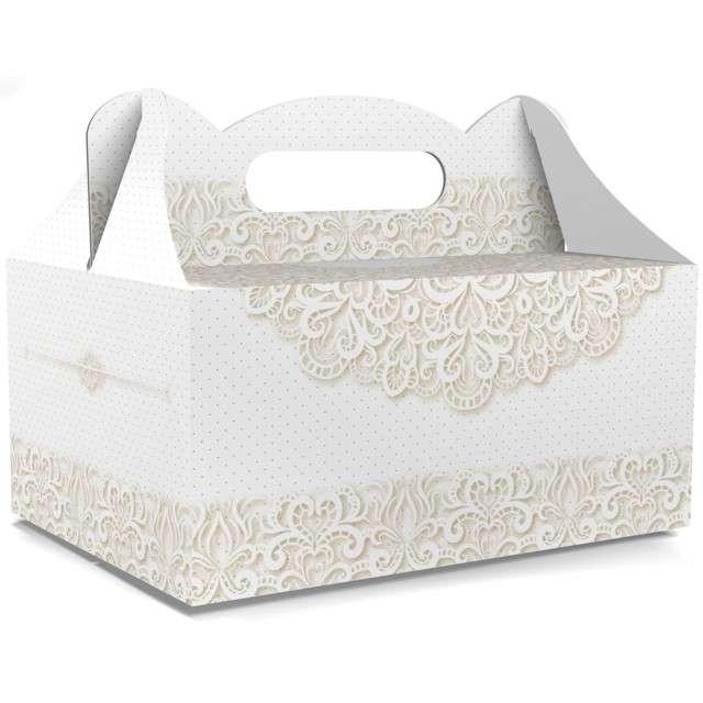 """Pudełko na ciasto """"Ślub - Słodkie Podziękowania"""", białe, TOLEDO, 5 szt"""