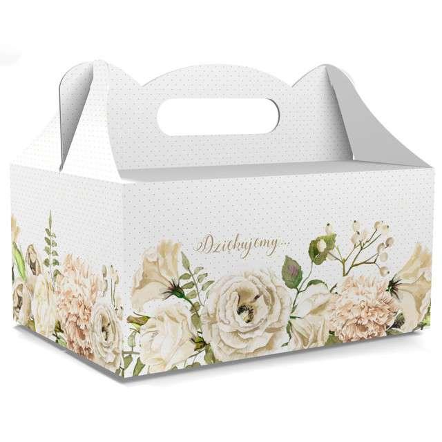 """Pudełko na ciasto """"Ślub - Dziękujemy"""", białe, TOLEDO, 5 szt"""