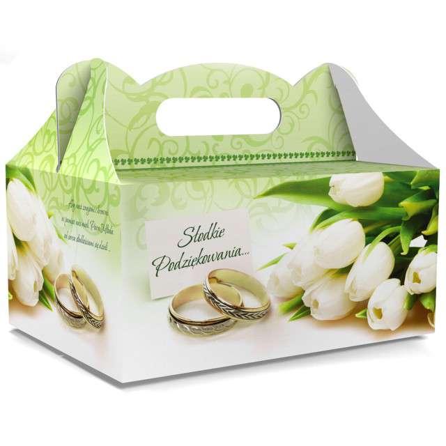 """Pudełko na ciasto """"Ślub - Słodkie Podziękowania"""", zielone, TOLEDO, 5 szt"""