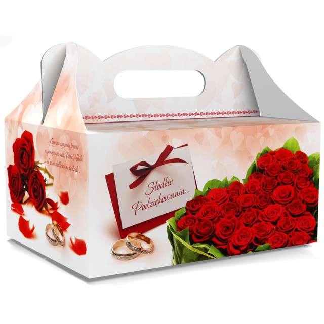 """Pudełko na ciasto """"Ślub - Słodkie Podziękowania"""", czerwone, TOLEDO, 5 szt"""