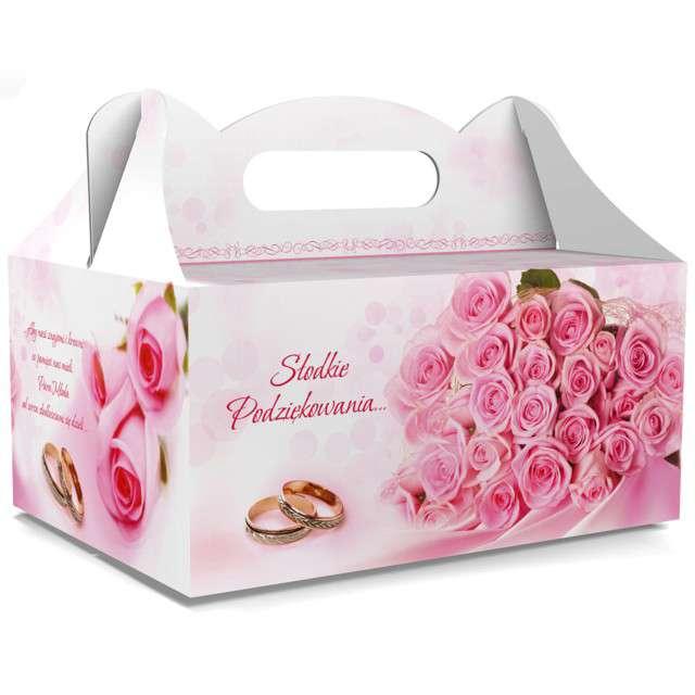 """Pudełko na ciasto """"Ślub - Słodkie Podziękowania"""", różowe, TOLEDO, 5 szt"""