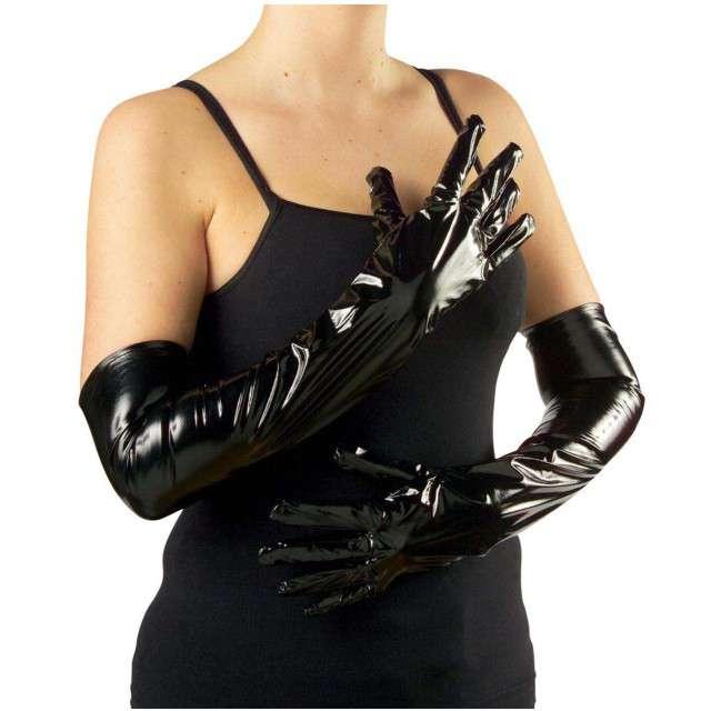 Rękawiczki Vinyl Long czarne WIDMANN 56 cm
