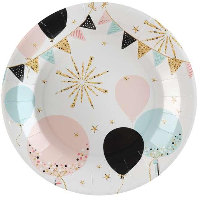 """Talerzyki papierowe """"Glitter"""", SANTEX, 23 cm, 10 szt"""