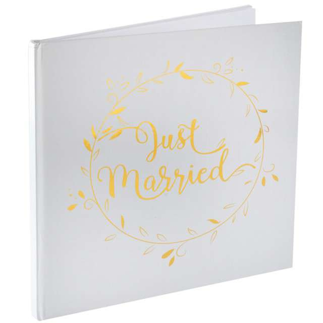"""Księga Gości """"Just Married"""", biała, SANTEX, 24x24 cm, 30 stron"""