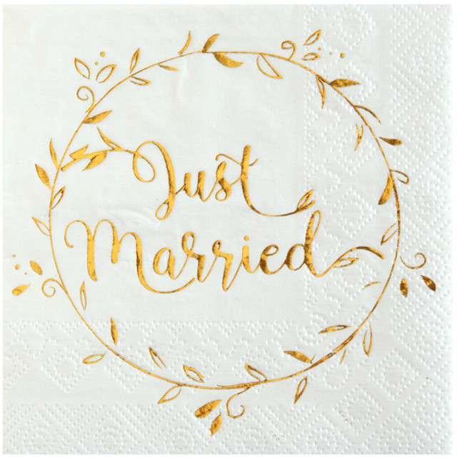 """Serwetki """"Just Married"""", białe, SANTEX, 25 cm, 20 szt"""