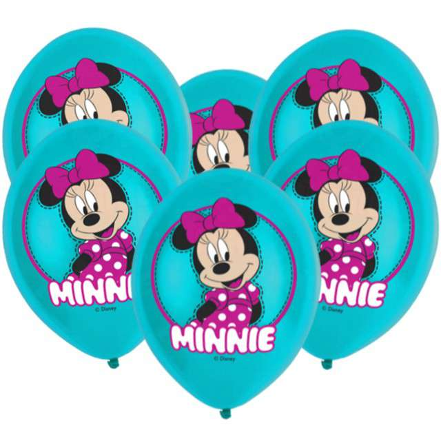 "Balony ""Minnie Mouse"", turkusowy, AMSCAN, 11"", 6 szt"