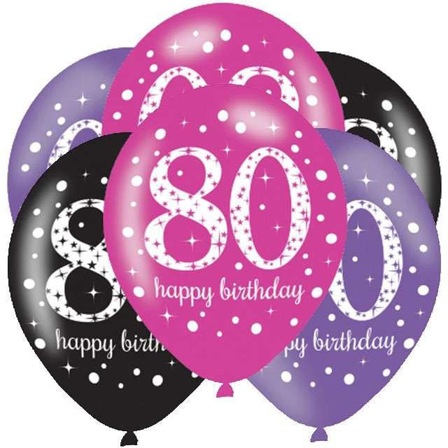 """Balony """"80 Urodziny - Sparkling Celebrations Pink """", mix, AMSCAN, 11"""", 6 szt"""