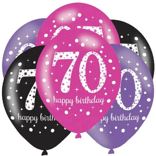 """Balony """"70 Urodziny - Sparkling Celebrations Pink """", mix, AMSCAN, 11"""", 6 szt"""