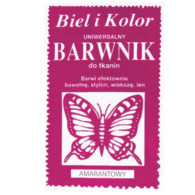 """Barwnik do tkanin """"Motyl"""", amarantowy, Biel i Kolor, 10 g"""