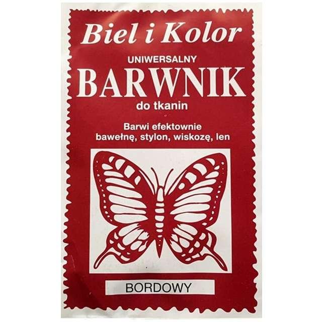 "Barwnik do tkanin ""Motyl"", bordowy, Biel i Kolor, 10 g"