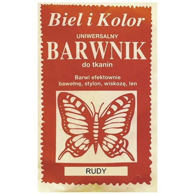 "Barwnik do tkanin ""Motyl"", rudy, Biel i Kolor, 10 g"