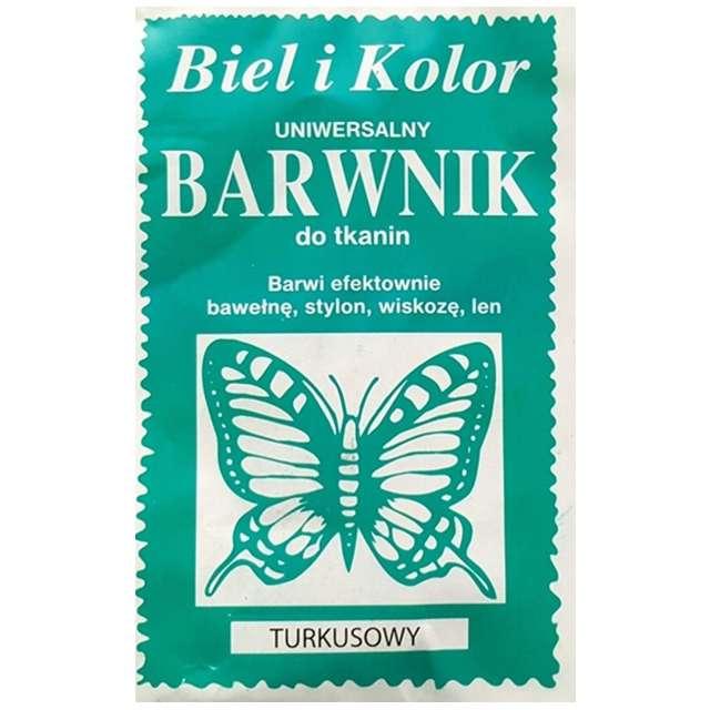 """Barwnik do tkanin """"Motyl"""", turkusowy, Biel i Kolor, 10 g"""