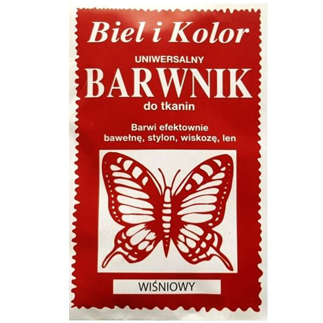 """Barwnik do tkanin """"Motyl"""", wiśniowy, Biel i Kolor, 10 g"""