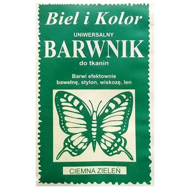 """Barwnik do tkanin """"Motyl"""", zielony ciemny, Biel i Kolor, 10 g"""
