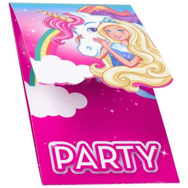 """Zaproszenia urodzinowe """"Barbie - Dreamtopia"""", AMSCAN, 8 szt"""