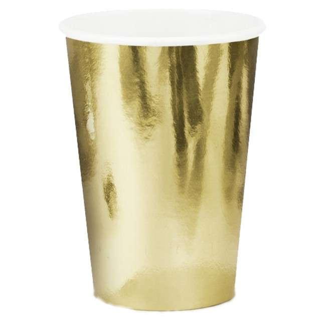 """Kubeczki papierowe """"Metalic"""", złoty, PartyDeco, 220 ml, 6 szt"""