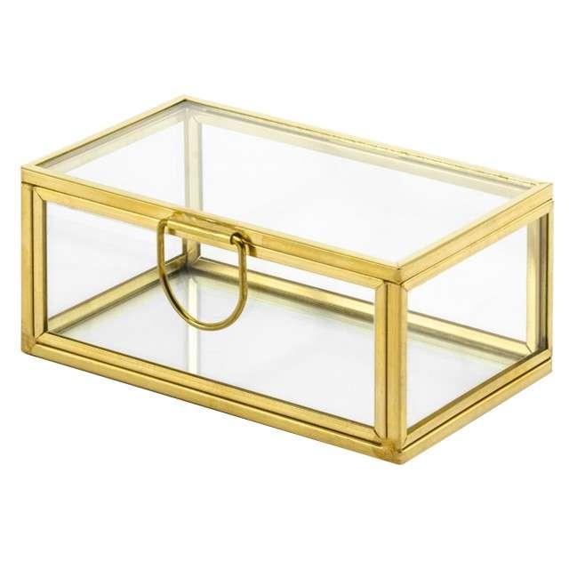 """Pudełko na obrączki """"Szklane"""", złoty, PartyDeco, 9x5 cm"""