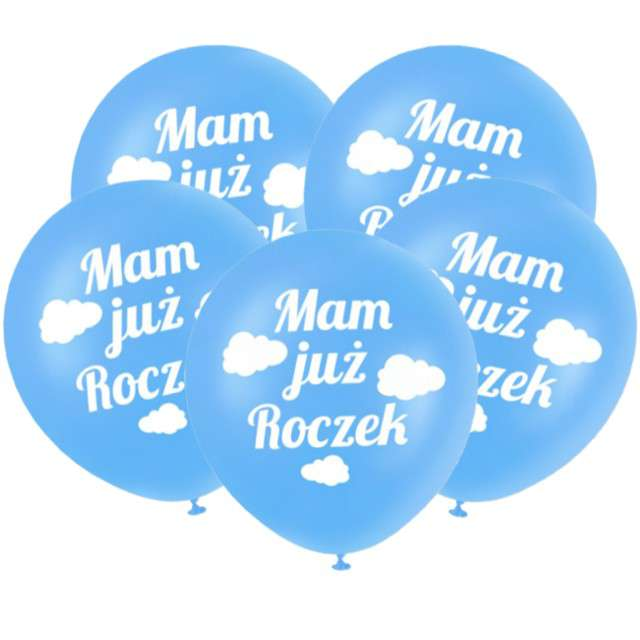 """Balony """"Mam już Roczek"""", niebieskie, DekoracjePolska, 12"""", 5 szt"""