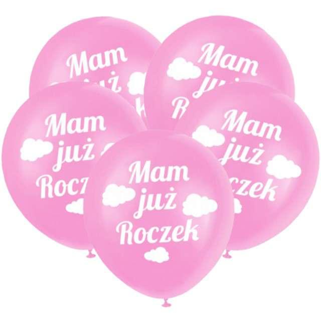"""Balony """"Mam już Roczek"""", różowe, DekoracjePolska, 12"""", 5 szt"""