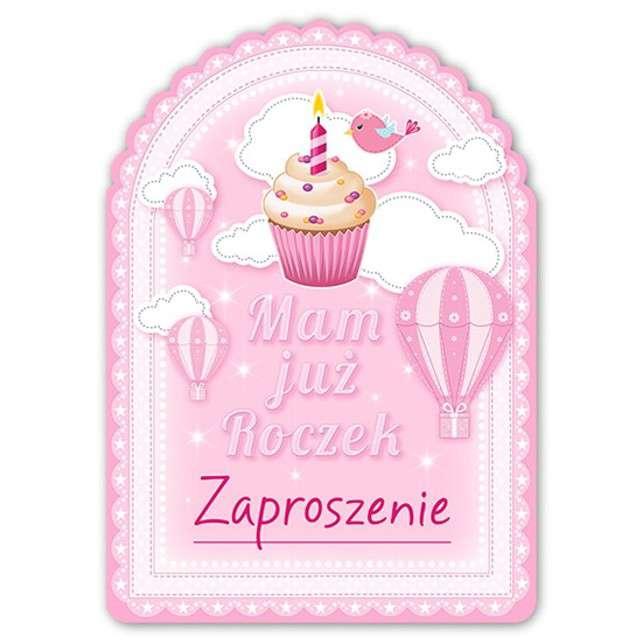 """Zaproszenia urodzinowe """"1 Urodziny - Babeczka"""", różowe, 10 szt"""