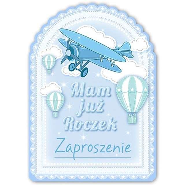 """Zaproszenia urodzinowe """"1 Urodziny - Samolocik"""", błękitne, 10 szt"""